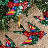 Tin ornaments, 'Holiday Flight in Red' (set of 4) - Tin Bird Ornaments in Red from Mexico (Set of 4)