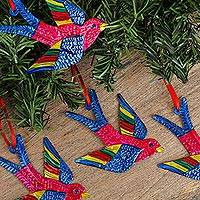 Tin ornaments, 'Holiday Flight in Fuchsia' (set of 4) - Tin Bird Ornaments in Fuchsia from Mexico (Set of 4)