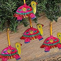 Tin ornaments, 'Holiday Turtles in Fuchsia' (set of 4) - Tin Turtle Ornaments in Fuchsia from Mexico (Set of 4)