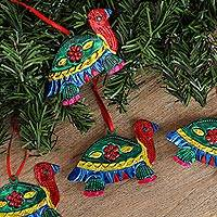 Tin ornaments, 'Holiday Turtles in Green' (set of 4) - Tin Turtle Ornaments in Green from Mexico (Set of 4)