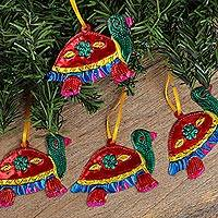 Tin ornaments, 'Holiday Turtles in Red' (set of 4) - Tin Turtle Ornaments in Red from Mexico (Set of 4)