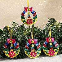 Tin ornaments, 'Candlelit Wreaths in Yellow' (set of 4) - Tin Wreath Ornaments in Yellow from Mexico (Set of 4)