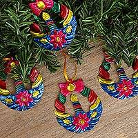 Tin ornaments, 'Candlelit Wreaths in Blue' (set of 4) - Tin Wreath Ornaments in Blue from Mexico (Set of 4)