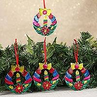 Tin ornaments, 'Candlelit Wreaths in Green' (set of 4) - Tin Wreath Ornaments in Green from Mexico (Set of 4)