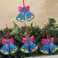 Tin ornaments, 'Lovely Bells in Blue' (set of 4) - Handcrafted Blue Tin Bell Ornaments from Mexico (Set of 4)