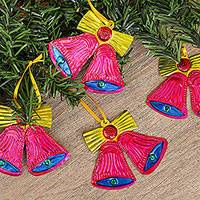 Tin ornaments, 'Lovely Bells in Fuchsia' (set of 4) - Handmade Fuchsia Tin Bell Ornaments from Mexico (Set of 4)