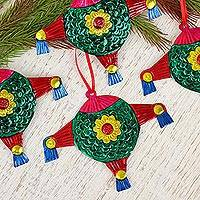 Tin ornaments, 'Piñatas in Green' (Set of 4) - Colorful Green Piñata Embossed Tin Ornaments (Set of 4)