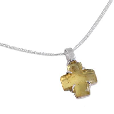 Natural Amber Cross Pendant Necklace from Mexico