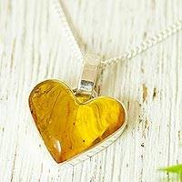 Amber pendant necklace, 'Unique Love' - Heart-Shaped Amber Pendant Necklace from Mexico