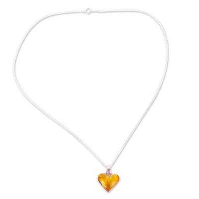 Heart-Shaped Amber Pendant Necklace from Mexico