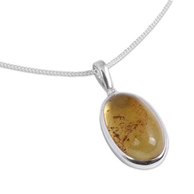 Oval Amber Pendant Necklace from Mexico