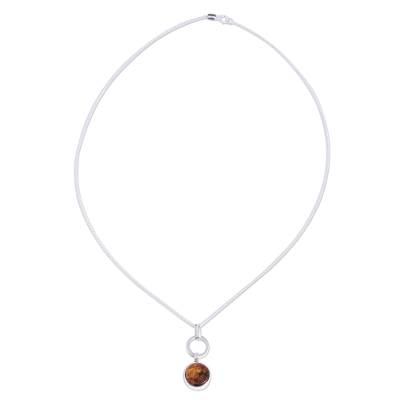 Round Amber Pendant Necklace from Mexico
