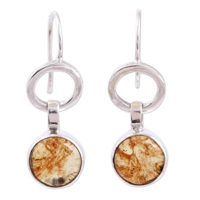Round Amber Dangle Earrings from Mexico