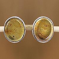 Amber button earrings,