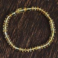 Amber beaded stretch bracelet, 'Beauty of the Ancients' - Amber Beaded Stretch Bracelet from Mexico
