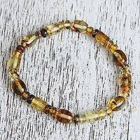 Amber beaded stretch bracelet, 'Unique Elegance' - Natural Amber Beaded Stretch Bracelet from Mexico