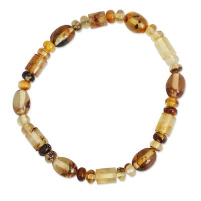 Natural Amber Beaded Stretch Bracelet from Mexico