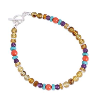 Colorful Amber and Agate Beaded Bracelet from Mexico
