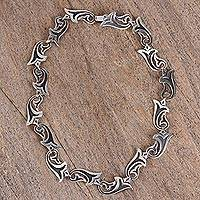 Sterling silver link necklace, 'Trumpets' - Sterling Silver Trumpet Flower Link Necklace from Mexico