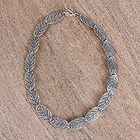 Sterling silver link necklace, 'Dry Leaves' - Modern Leaf Sterling Silver Link Necklace from Mexico