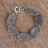 Sterling silver link bracelet, 'Dry Leaves' - Modern Leaf Sterling Silver Link Bracelet from Mexico