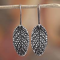 Sterling silver drop earrings, 'Dry Leaves' - Modern Leaf Sterling Silver Drop Earrings from Mexico