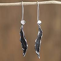 Sterling silver dangle earrings, 'Leaves of the Jungle' - Leaf-Shaped Sterling Silver Dangle Earrings from Mexico