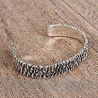 Sterling silver cuff bracelet, 'Taxco Texture' - Modern Taxco Sterling Silver Cuff Bracelet from Mexico