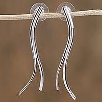 Sterling silver drop earrings, 'Modern Roots' - Modern Sterling Silver Drop Earrings from Mexico