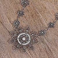 Cultured pearl filigree pendant necklace, 'Floral Taxco Mandala' - Floral Taxco Cultured Pearl Filigree Pendant Necklace