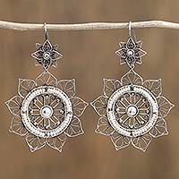 Sterling silver filigree dangle earrings, 'Floral Taxco Mandala' - Floral Taxco Sterling Silver Filigree Dangle Earrings