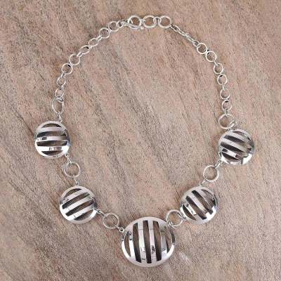 Sterling silver link necklace, 'Modern Baskets' - Modern Circular Sterling Silver Link Necklace from Mexico