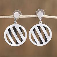 Sterling silver dangle earrings, 'Modern Basket' - Modern Circular Sterling Silver Dangle Earrings from Mexico