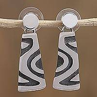 Sterling silver dangle earrings, 'Wavy Labyrinth' - Modern Taxco Sterling Silver Dangle Earrings from Mexico