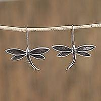 Sterling silver drop earrings, 'Dark Wings' - Taxco Sterling Silver Dragonfly Drop Earrings from Mexico