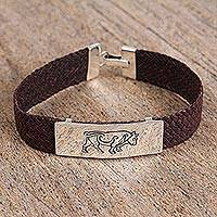 Men's sterling silver and leather pendant bracelet, 'Charging Bull' - Men's Sterling Silver and Leather Bull Pendant Bracelet
