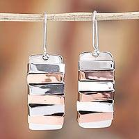 Sterling silver dangle earrings, 'Dual Symmetry' - Modern Taxco Sterling Silver Dangle Earrings from Mexico