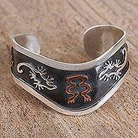 Sterling silver cuff bracelet, 'Lizard Iconography' - Lizard Motif Sterling Silver Cuff Bracelet from Mexico