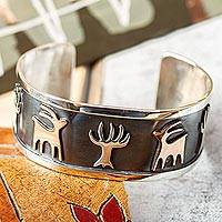 Sterling silver cuff bracelet, 'Deer Forest' - Deer and Tree Motif Taxco Sterling Silver Cuff Bracelet