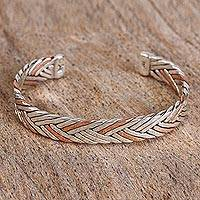 Sterling silver and copper cuff bracelet,