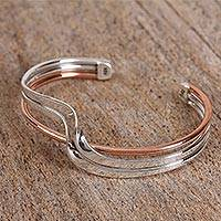 Sterling silver cuff bracelet, 'Copper Stream' - Sterling Silver and Copper Cuff Bracelet from Mexico