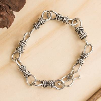 Sterling silver link bracelet, Connected Ropes