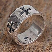 Men's sterling silver band ring, 'Medieval Crosses' - Men's Cross Motif Sterling Silver Band Ring from Mexico