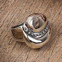 Sterling silver cocktail ring, 'Abstract Elegance' - Abstract Sterling Silver Cocktail Ring from Mexico