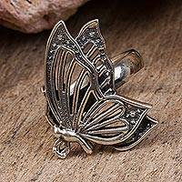 Sterling silver cocktail ring, 'Openwork Butterfly' - Sterling Silver Butterfly Cocktail Ring from Mexico