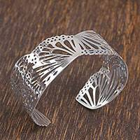 Sterling silver cuff bracelet, 'Monarch Flight' - Butterfly Wing Sterling Silver Cuff Bracelet from Mexico