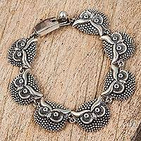 Sterling silver link bracelet, 'Ring of Owls' - Sterling Silver Owl Link Bracelet from Mexico