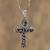 Sterling silver pendant necklace, 'Textured Cross' - Textured Sterling Silver Cross Pendant Necklace from Mexico (image 2c) thumbail