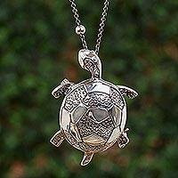 Sterling silver pendant necklace, 'Little Tortoise' - Sterling Silver Tortoise Pendant Necklace from Mexico