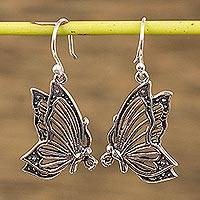 Sterling silver dangle earrings, 'Openwork Butterflies' - Sterling Silver Openwork Butterfly Earrings from Mexico